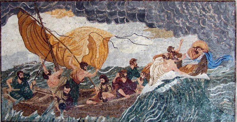 Jesus In The Storm Mosaic Marble Mural Pic