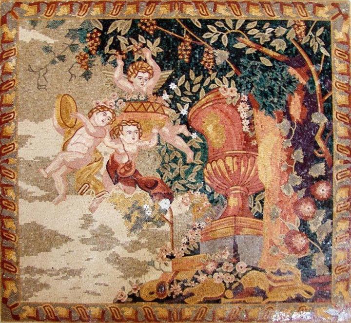 Three Angels in the Garden of Eden Handmade Mosaic
