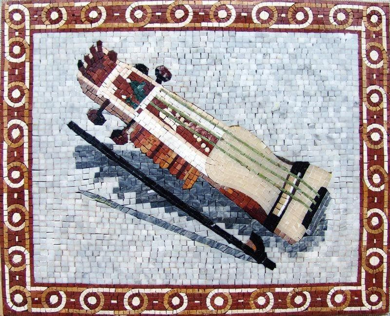Musical Instrument Marble Mosaic Mural