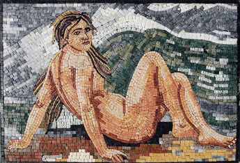 Naked Woman Looking Away Marble Mosaic Mural