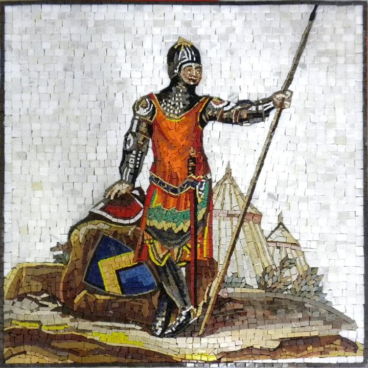 Soldier with Shaft Stone Mosaic Mural Art