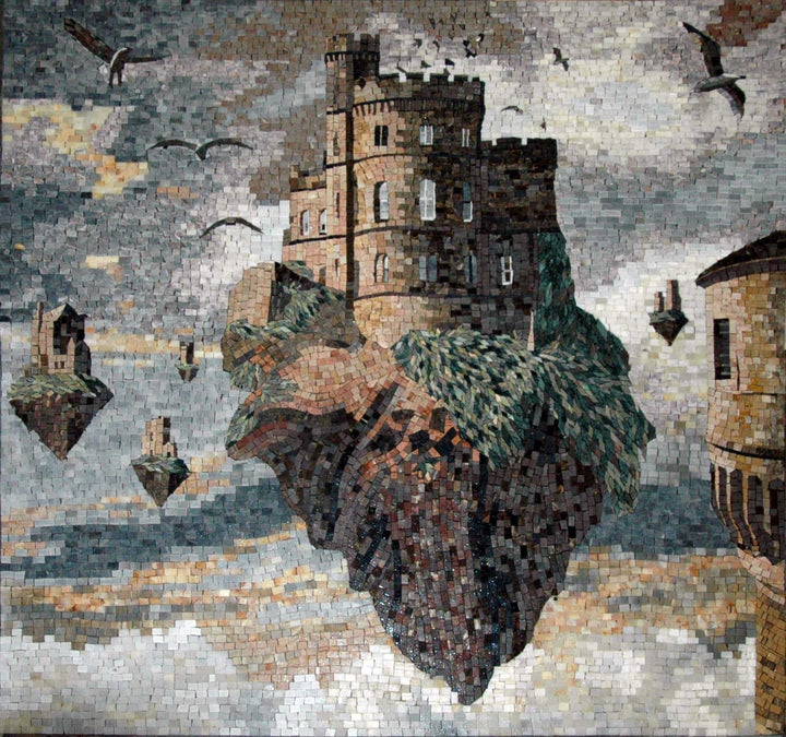 "Jacek Yerka Castle On A Rock"" - Mosaic Reproduction """