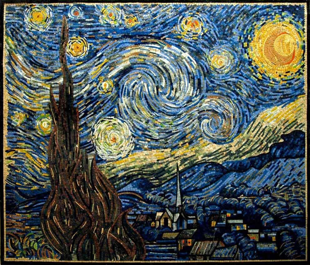 Vincent Van Gogh Starry Night Reproduction Mosaic