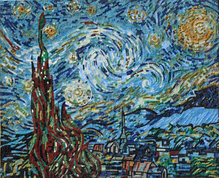 Vincent Van Gogh Starry Night Mosaic Scenery Mozaico