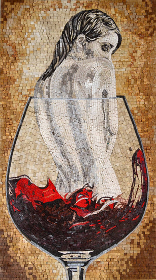 Nude In Wine Glass Fantasy Art Mosaic