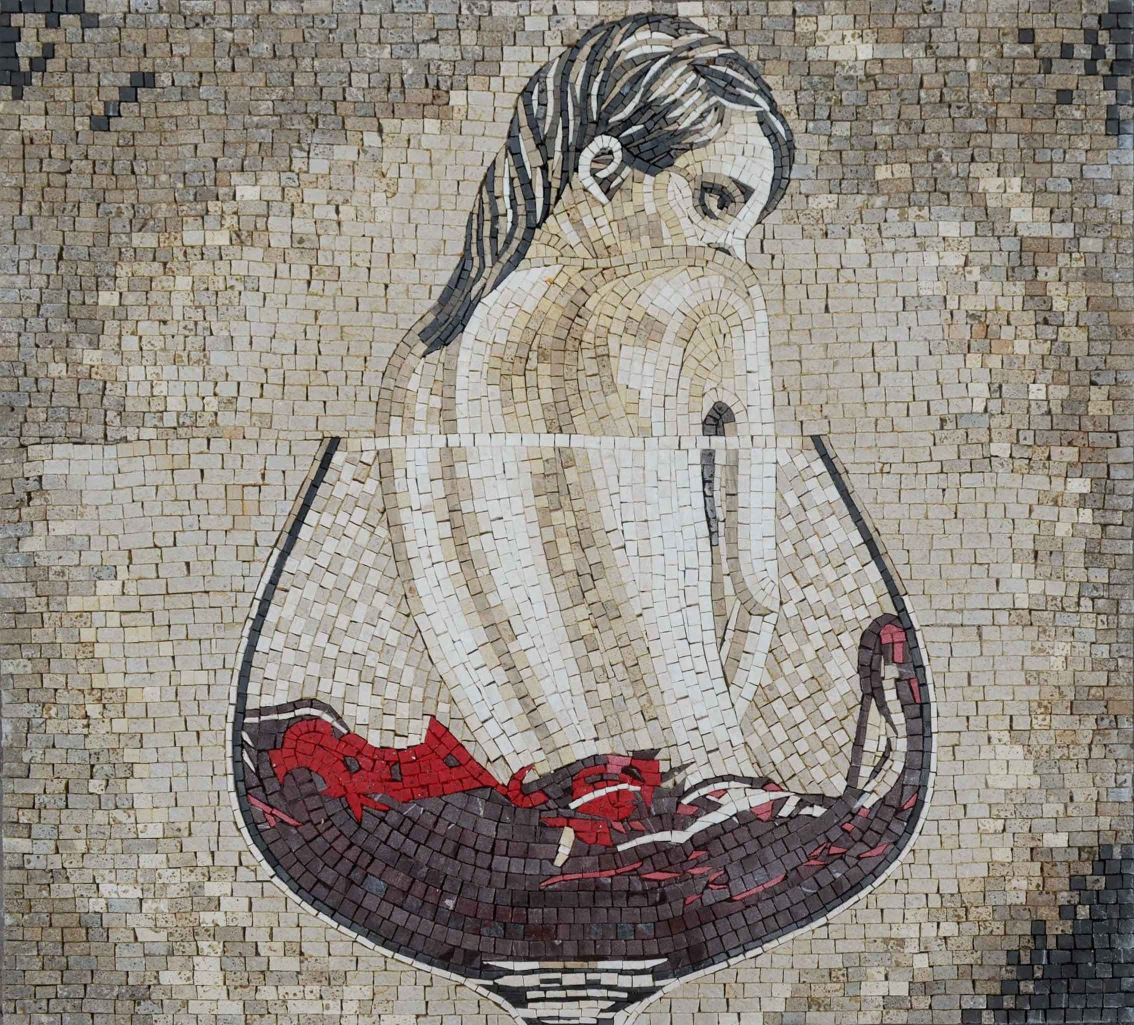 Mosaic Art The Lady In Red Pic