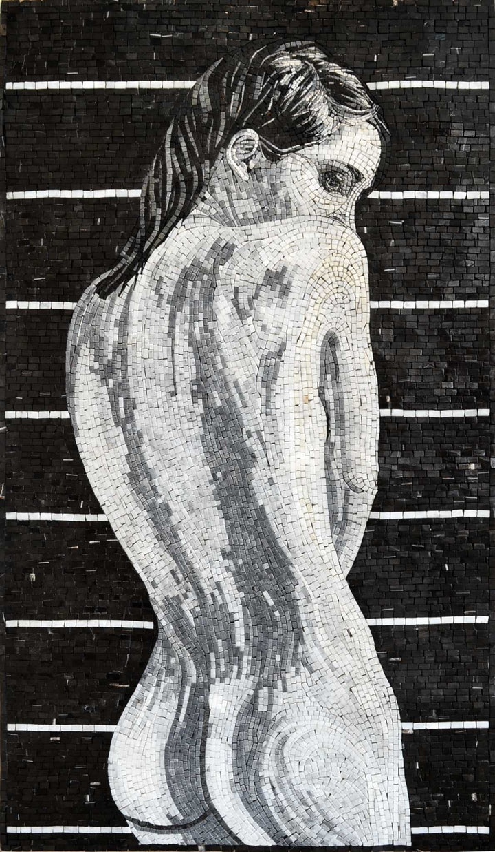 Naked woman marble mosaic mural decorative