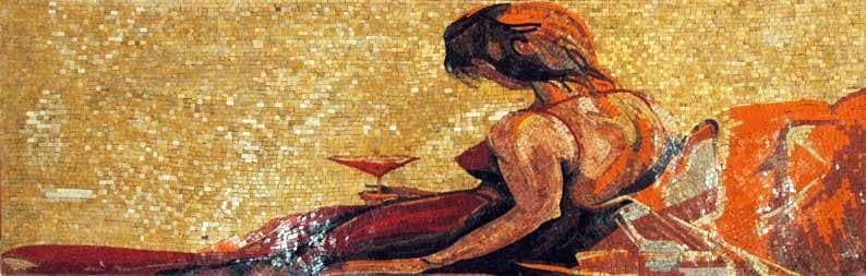 Woman In Red Dress Mosaic Art Pic