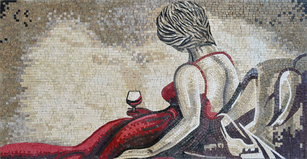 Mosaic Art - Lady In a Red Dress