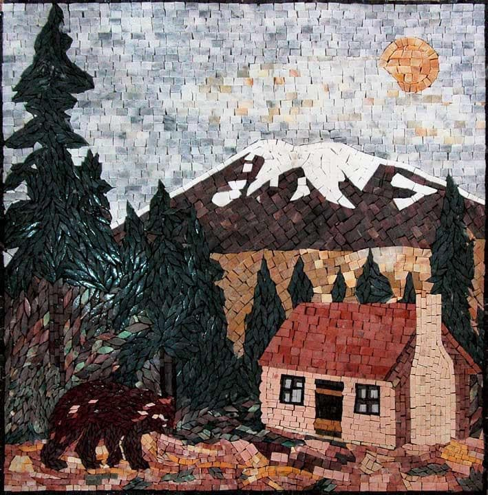 Forest Natural Scene Mosaic Marble