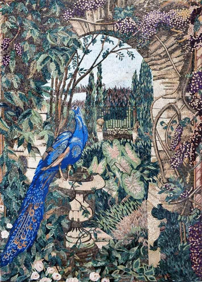 Beautiful Peacock in the Garden Mosaic