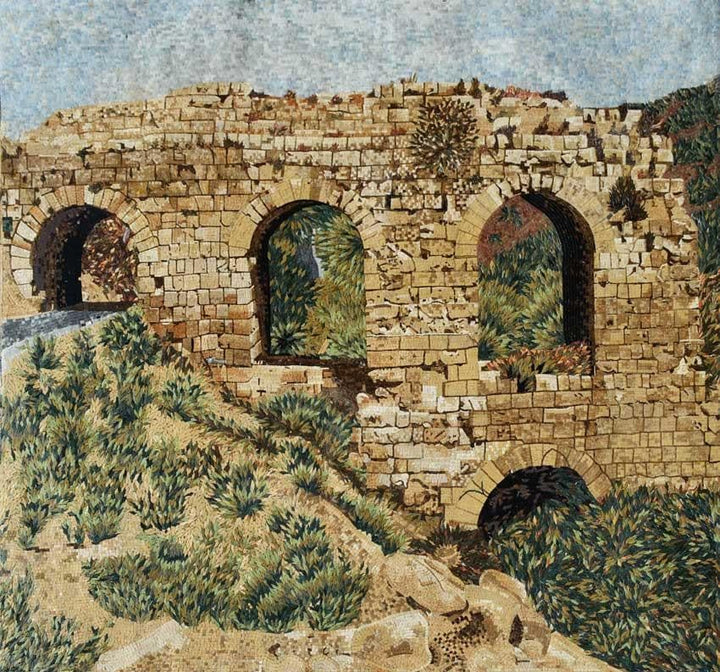 Roman Ruins in Nature Mosaic Mural