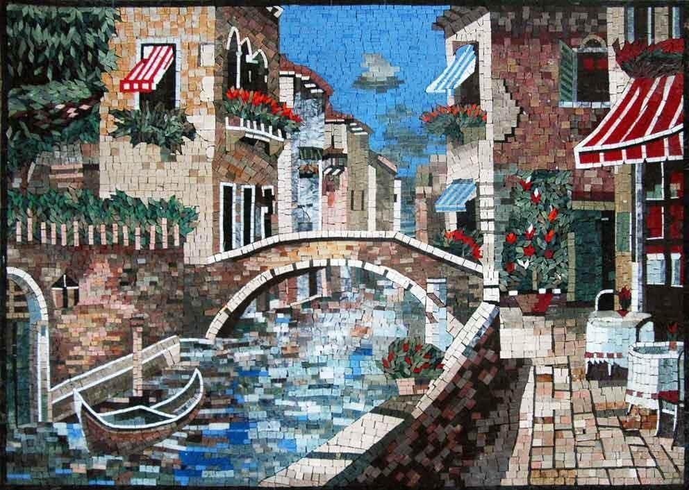Romantic Scene Of Venice Mosaic Art Pic