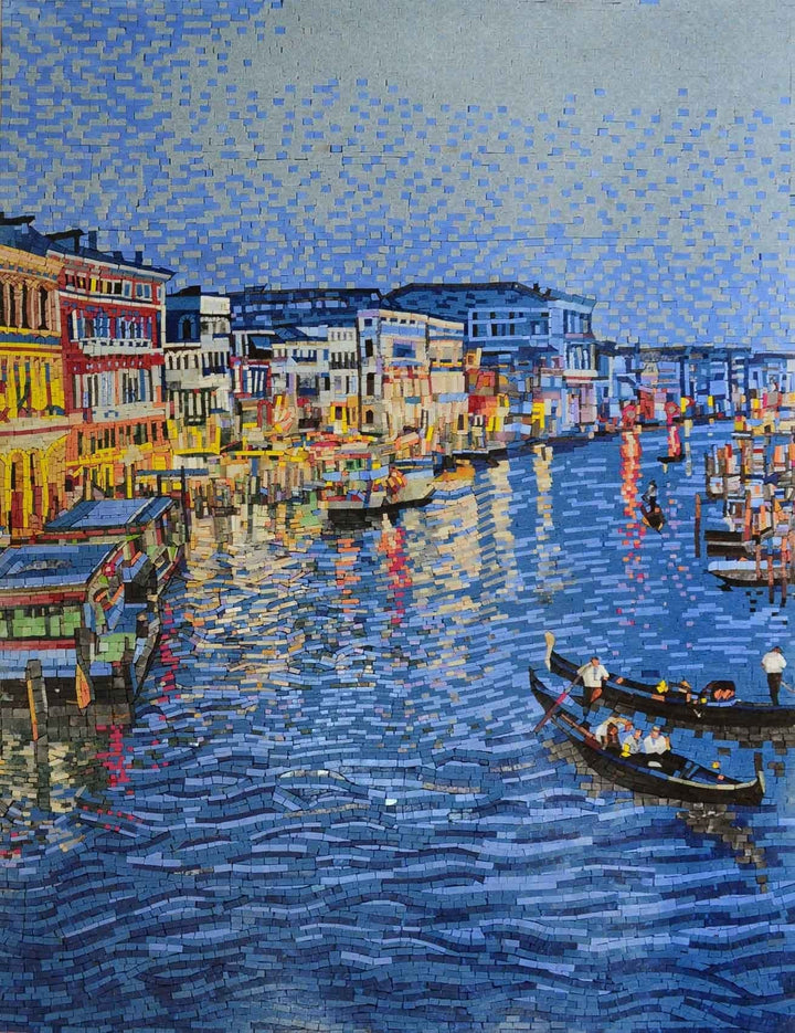 Venice at Night Colorful Mosaic Marble Wall Decor