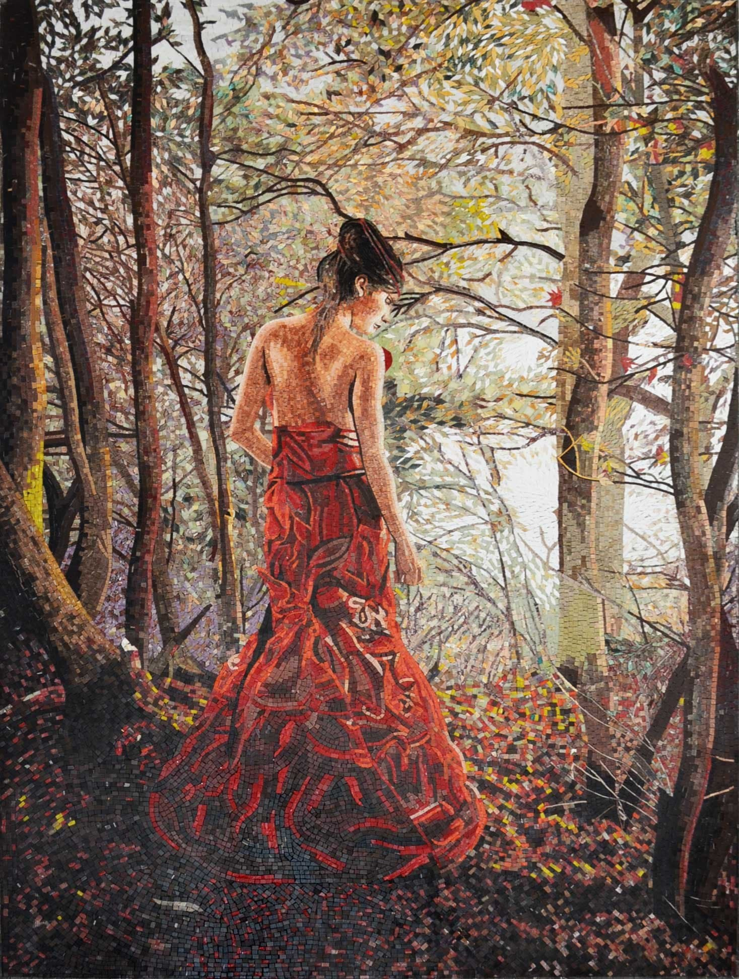 Lady In The Woods Marble Mosaic Mural Pic
