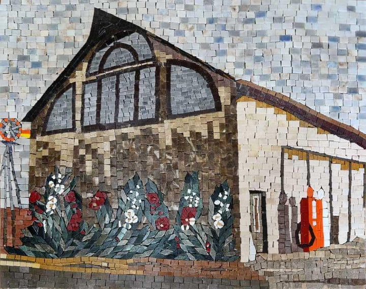 Beautiful Barn Natural Scene Mabrle Mosaic Mural