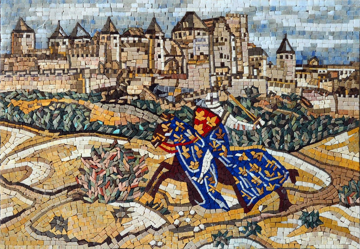 Medieval Village Reproduction Marble Mosaic