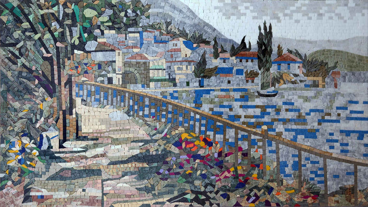 Colorful Floral Santorini View - Mosaic Artwork
