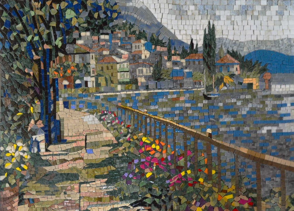 Colorful Floral Landscape Mosaic Art