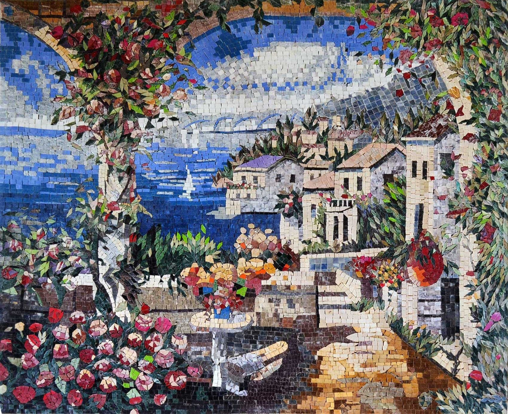 Tuscan Sea View Mural Decorative Mosaic Scenery Mozaico