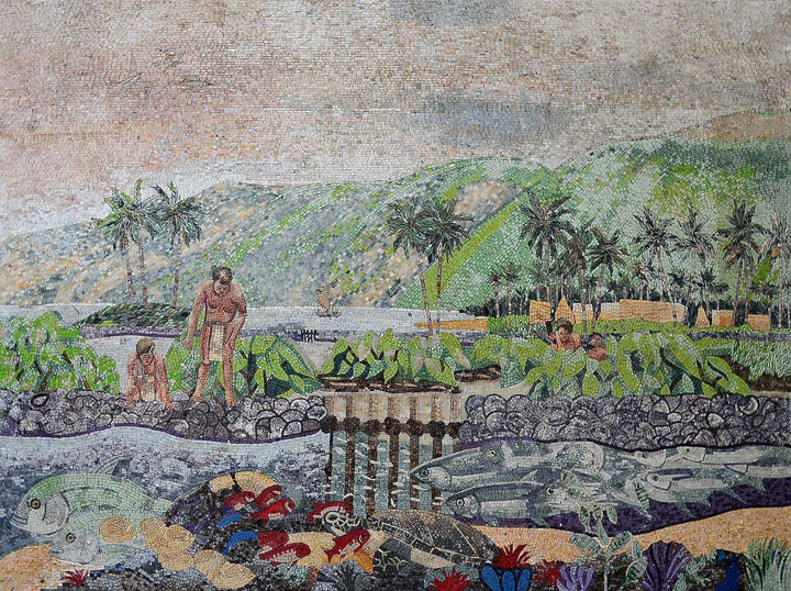 Primitive People Life Illustrative Mosaic