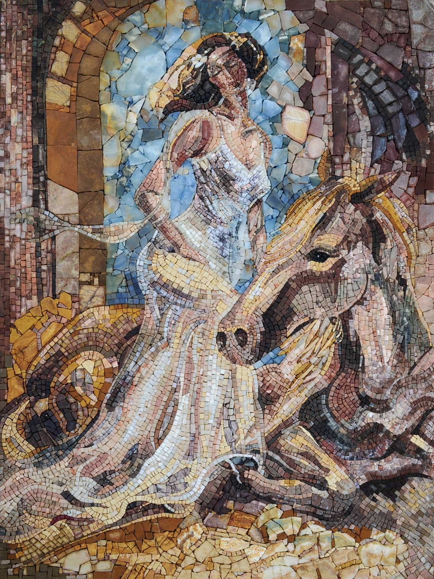 Creamy Natural Tone Lady Godiva Riding A Horse Mosaic Pic