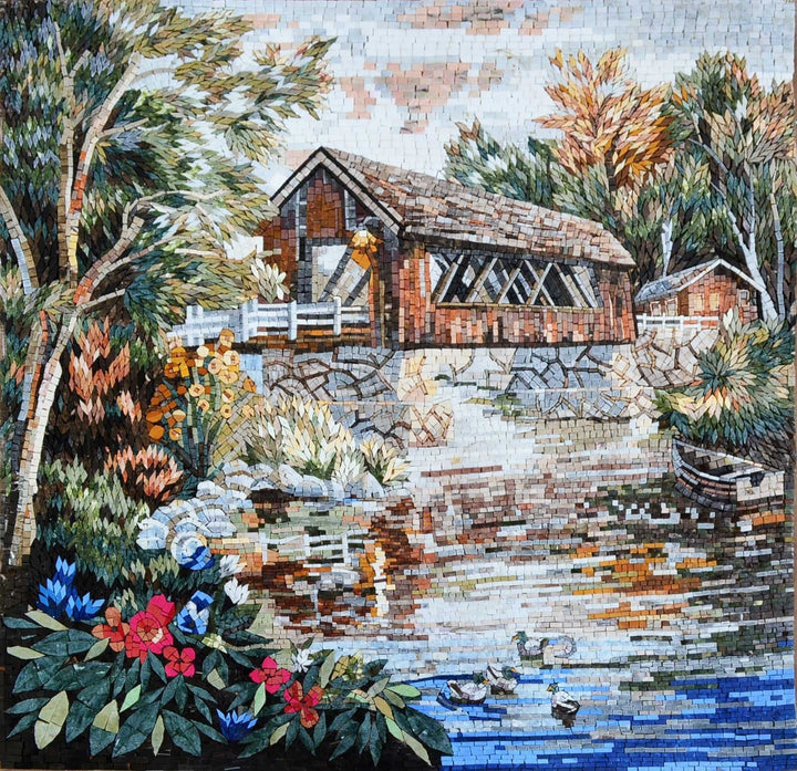 House by the lake with colorful plants in Marble mosaic mural tiles