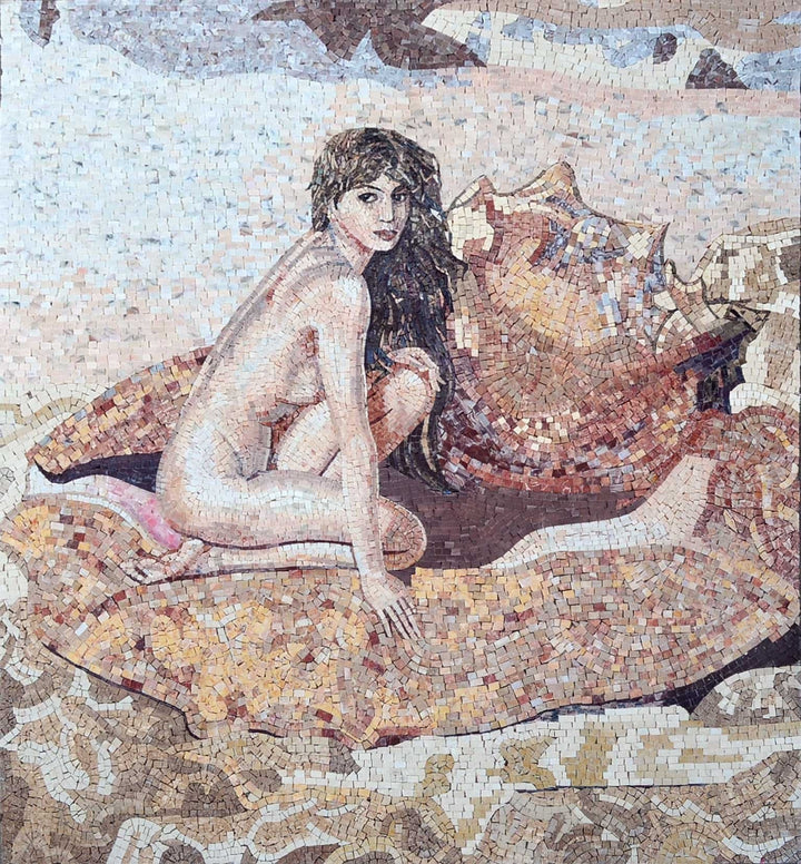 Lady in a shell on the sea shore marble mosaic mural