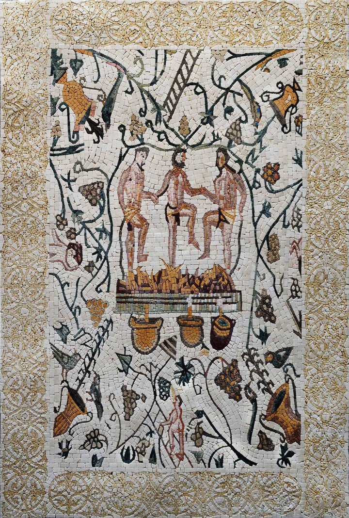 Roman Mosaic Designs - Men Treading Grapes