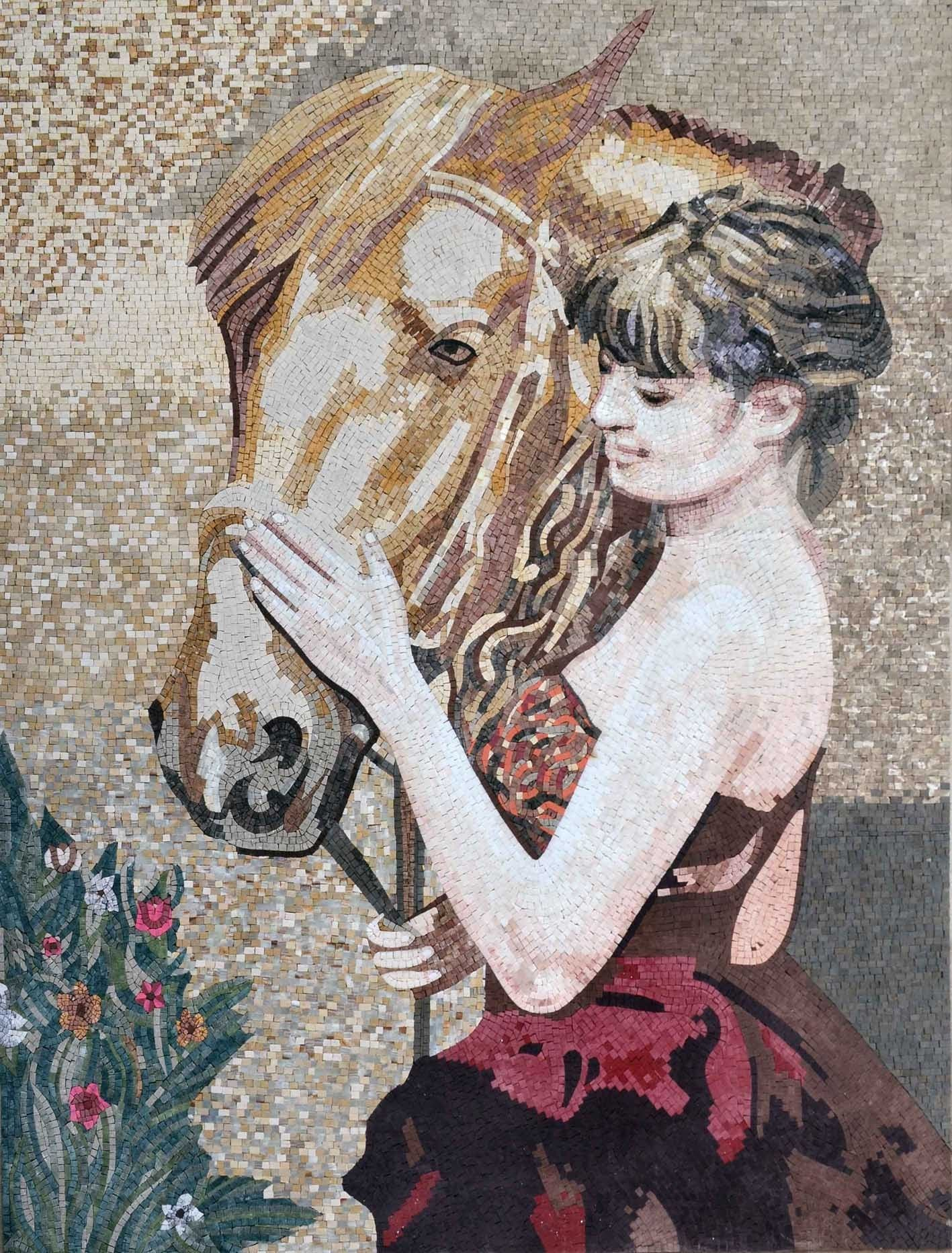 Lady Caressing Her Horse Mosaic Marble Pic
