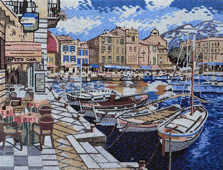 "Sam Park Cafe in Cassis"" - Mosaic Art Reproduction"""