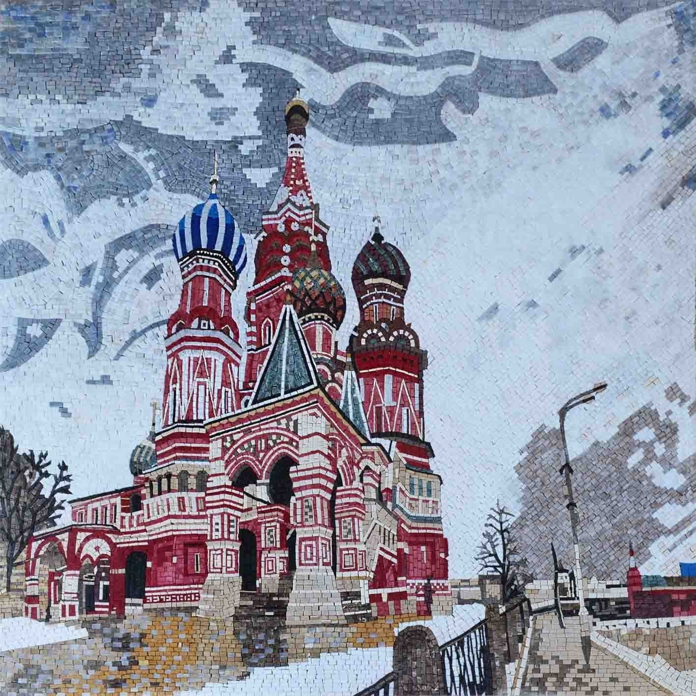 Saint Basil Cathedral In Moscow Christian Art Mosaic Pic