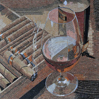 Cigar and Drink Pair Mosaic Marble Handmade Artwork