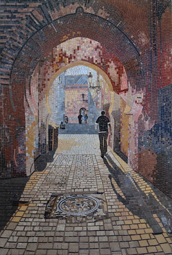 Arcade Tunnel Walk through Mosaic Marble Artwork