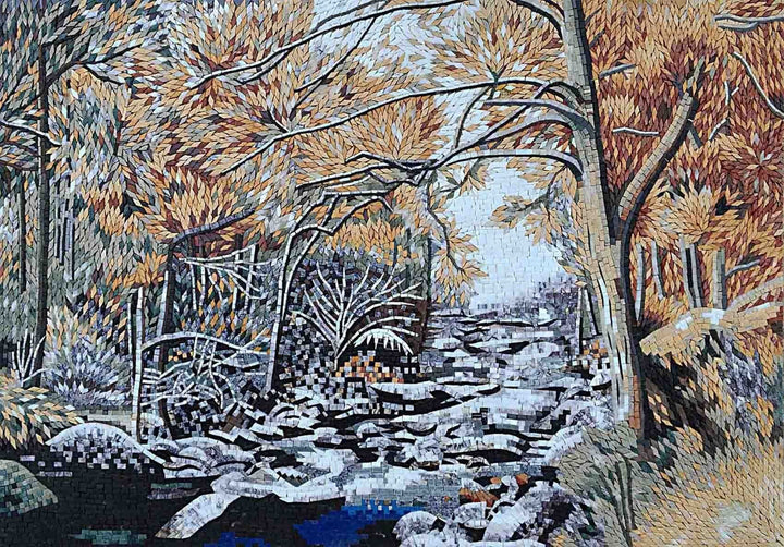 Forest River Mosaic Marble Handmade Art