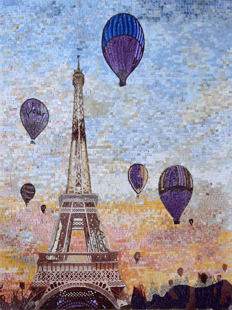 Eiffel Tower And Hot Air Balloons Mosaic Art Scenery