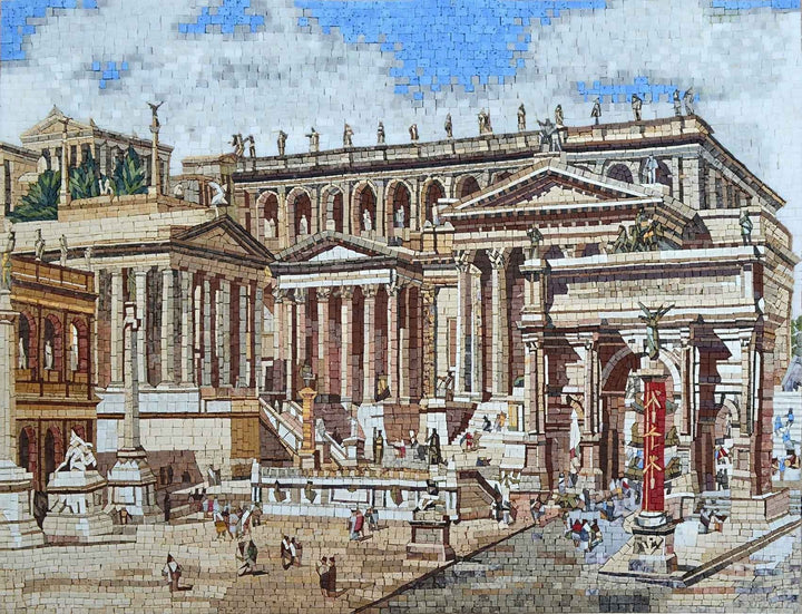 Mosaic Mural-Roman Ancient Forum