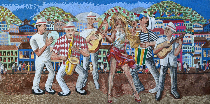 Marble Mosaic Mural- Samba Dancer with Musicians