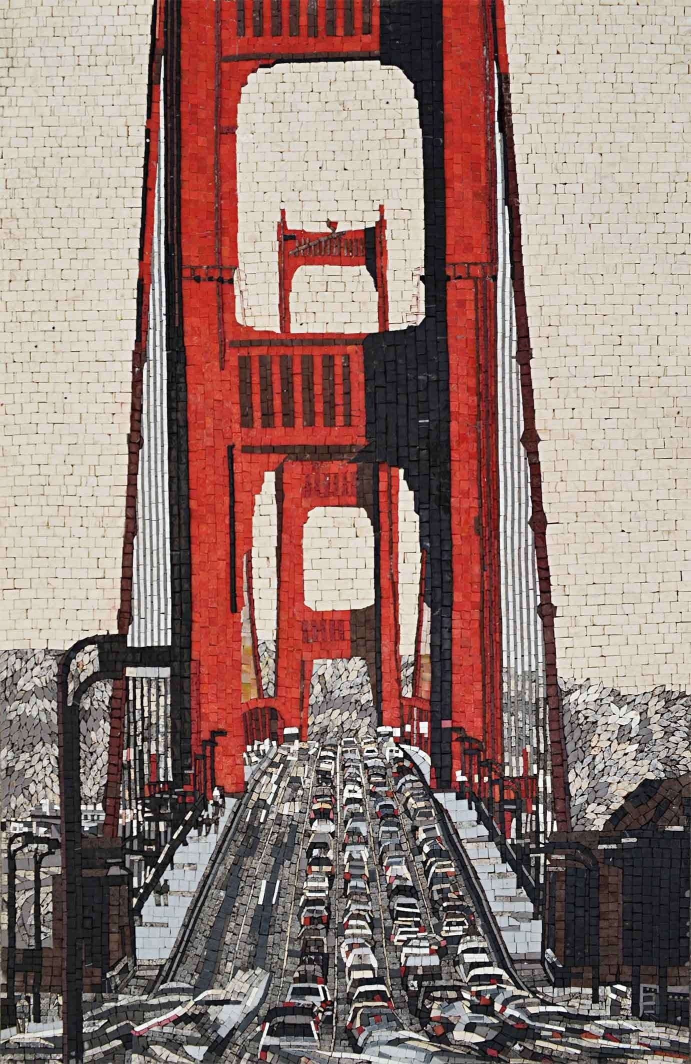 mosaic mural san francisco golden gate bridge scenery mozaico mosaic mural san francisco golden gate bridge ms575