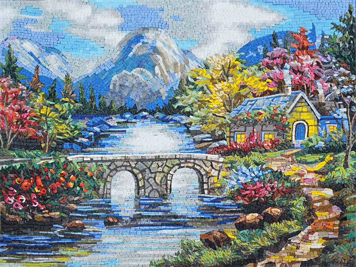 Marble Mosaic Murals- House on River