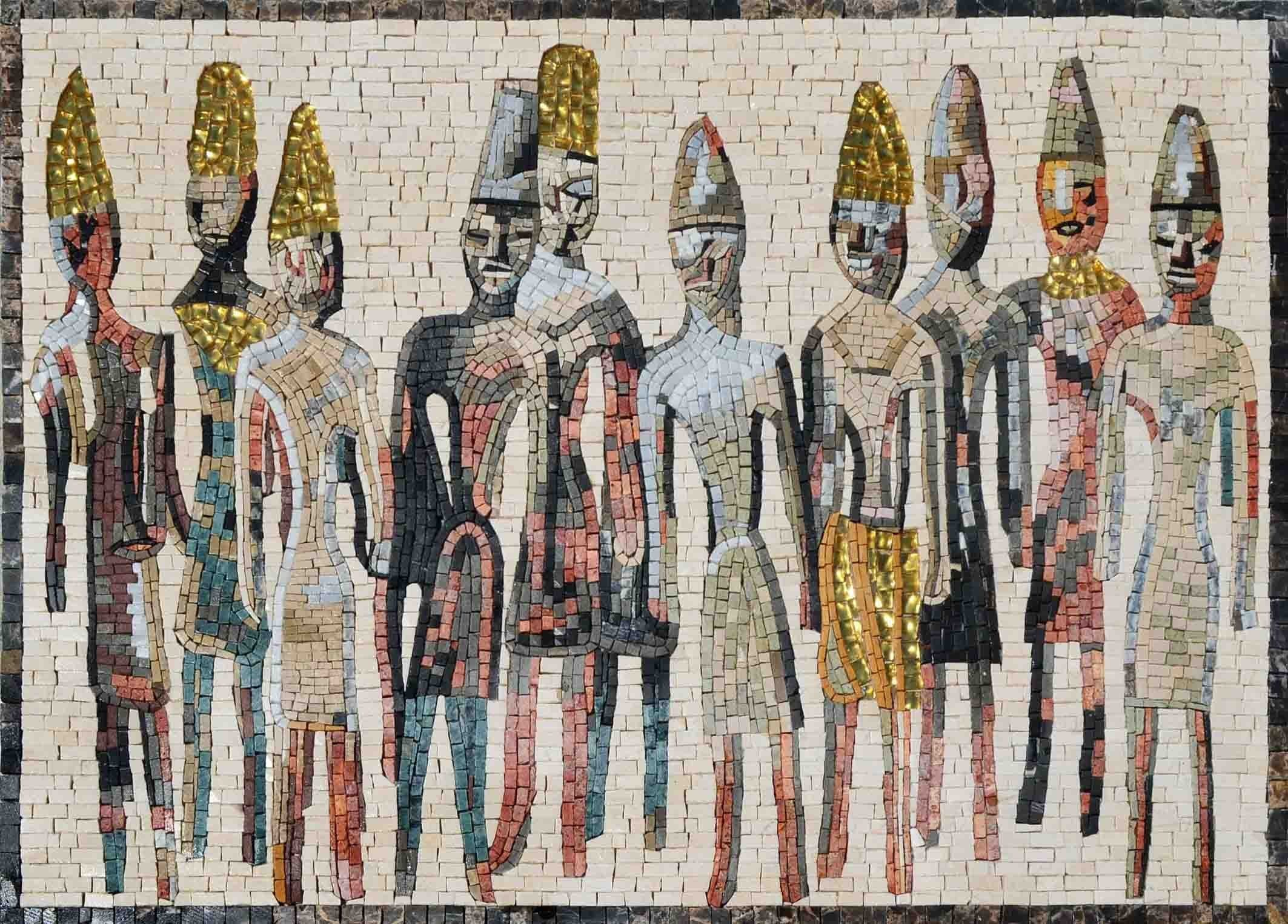 Mosaic Whimsical Phoenician Figures Pic