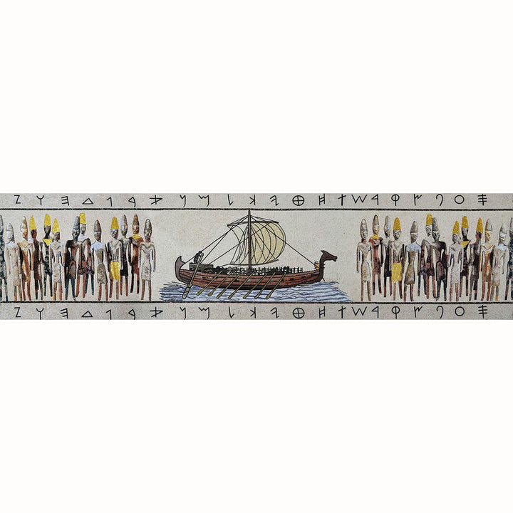 Marble Mosaic Mural- Phoenician Ship and Civilization