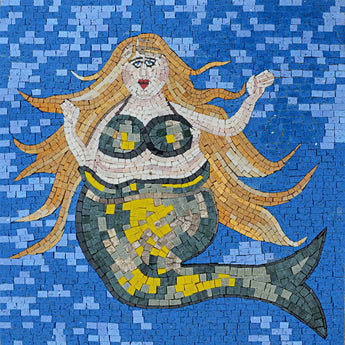 Indigo Mermaid - Mosaic Wall Art