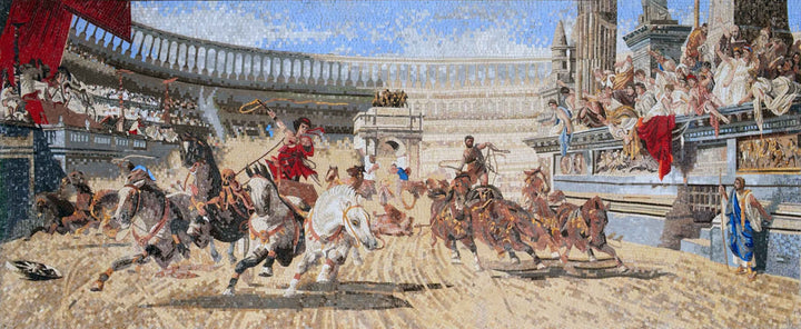 "Alexander Von Wagner The Chariot Race"" - Mosaic Reproduction """
