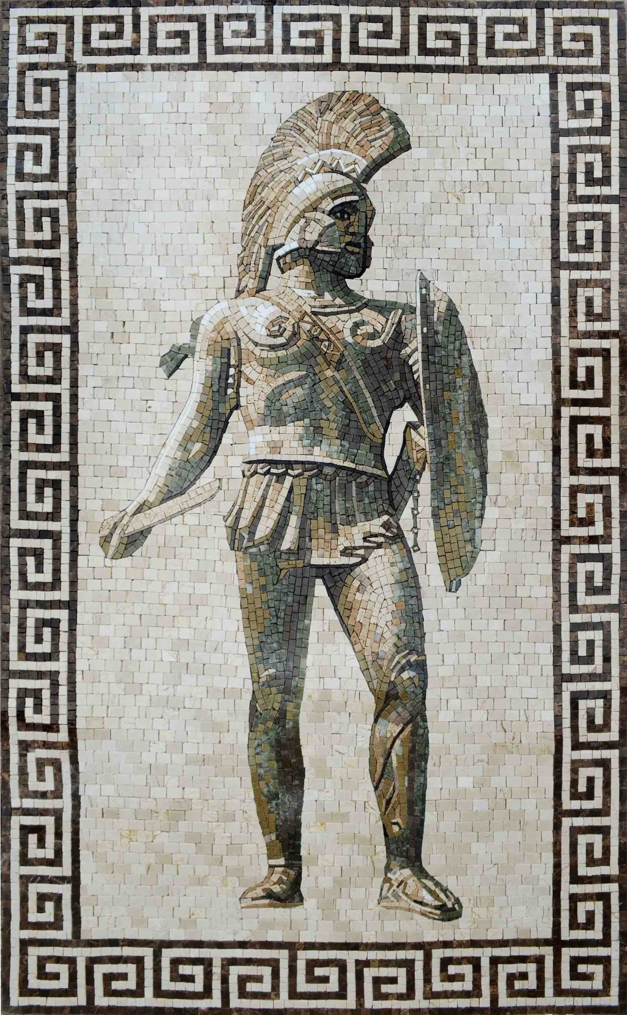 Mosaic Art Roman Soldier With Spear Pic