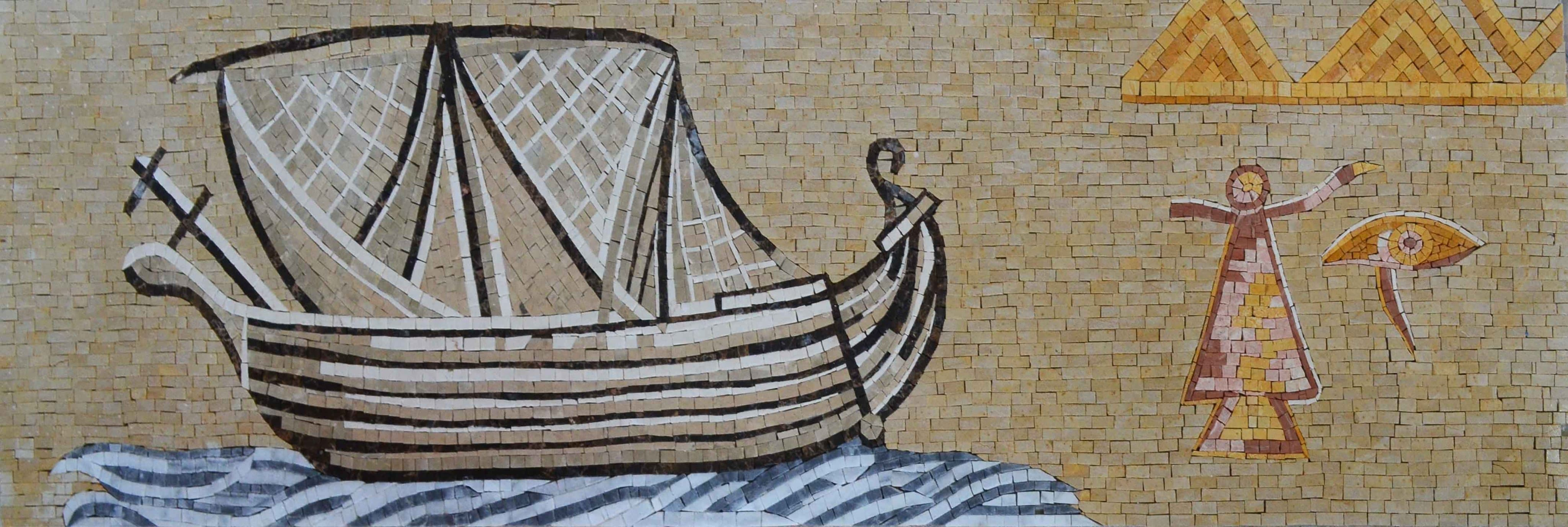 Landscape Mosaic Art - Ancient Phoenician Ship