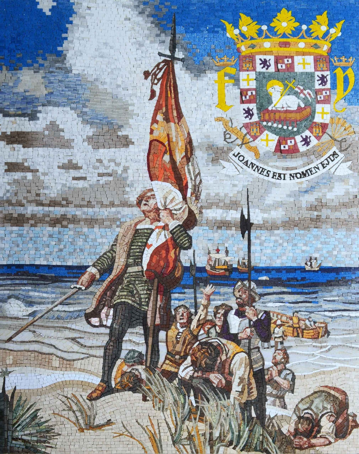 Mosaic Art - Christopher Columbus Landing