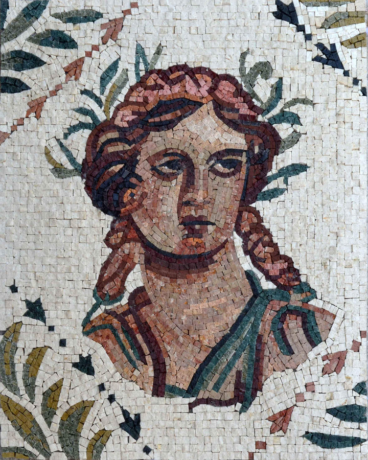 Roman Mosaic Portrait - Athena Greek Goddess