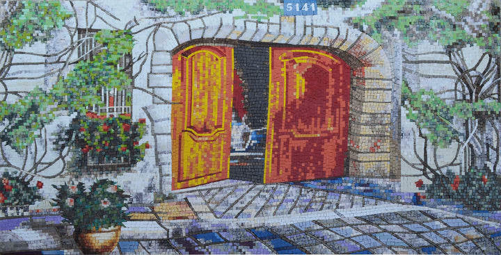 Stone House Entrance - Mosaic Wall Art