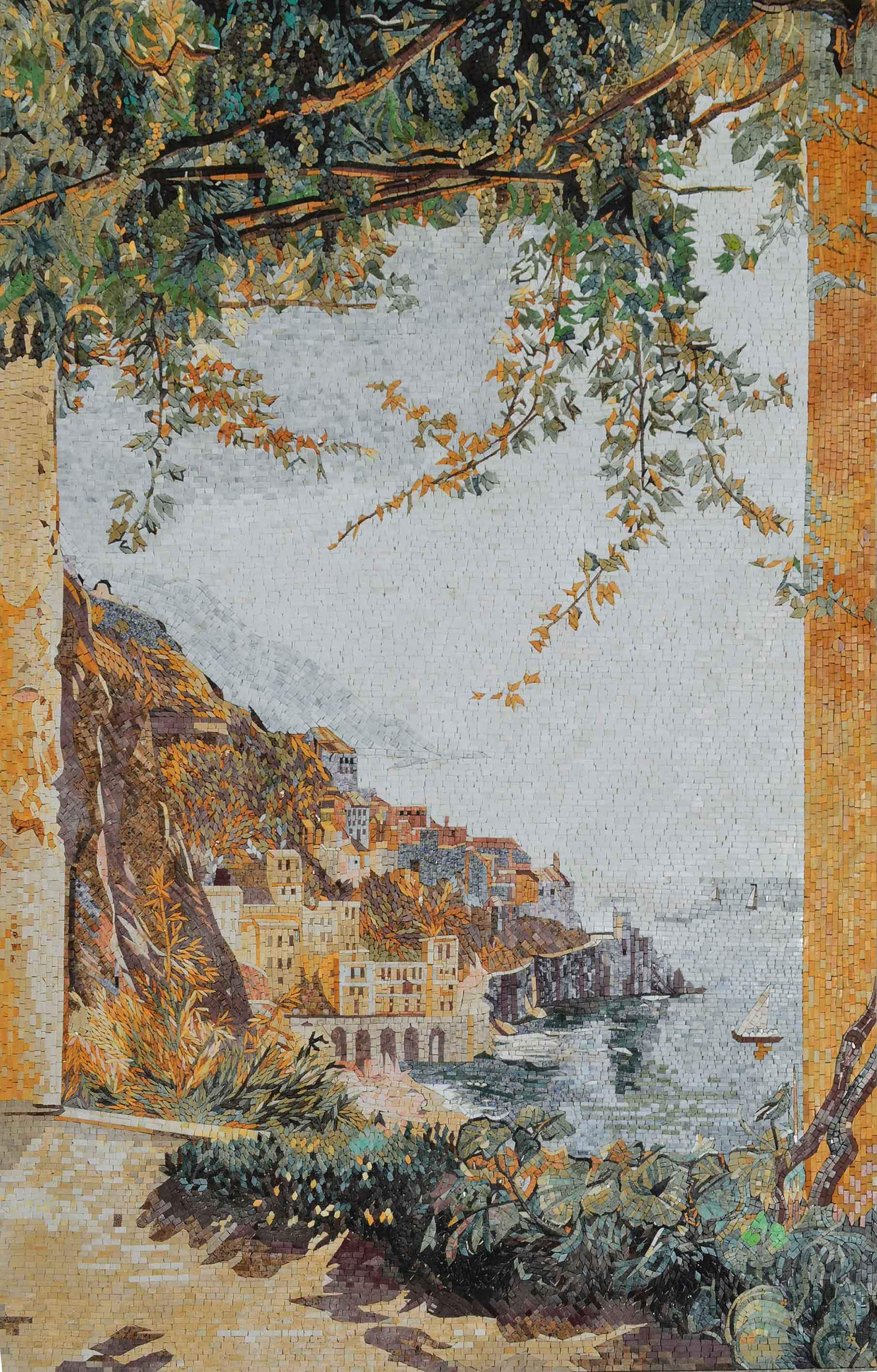 Coastal Cliff Scenery Mosaic Art Pic